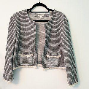 Club Monaco Cropped Tweed Sweater Jacket Size Large